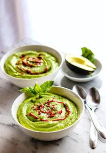 Chilled Artichoke Avocado Spring Pea Soup with Healthy Prebiotics! {Raw, Vegan, Super Creamy}