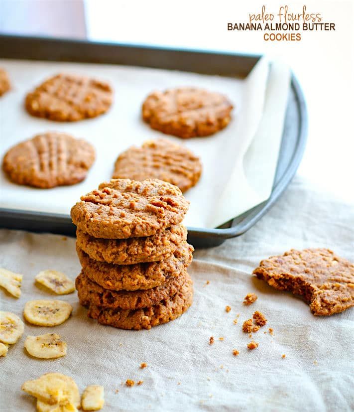 Crispy Flourless Banana Almond Butter Cookies. Healthy flourless almond butter cookies that only need a few ingredients to make! These flourless cookies are gluten free, paleo, and vegan friendly. Plus they TASTE AMAZING! Lightly sweetened with ground banana and perfectly nutty with an almond butter base. Great for kids, fuel, snacks, and breakfast on the go!