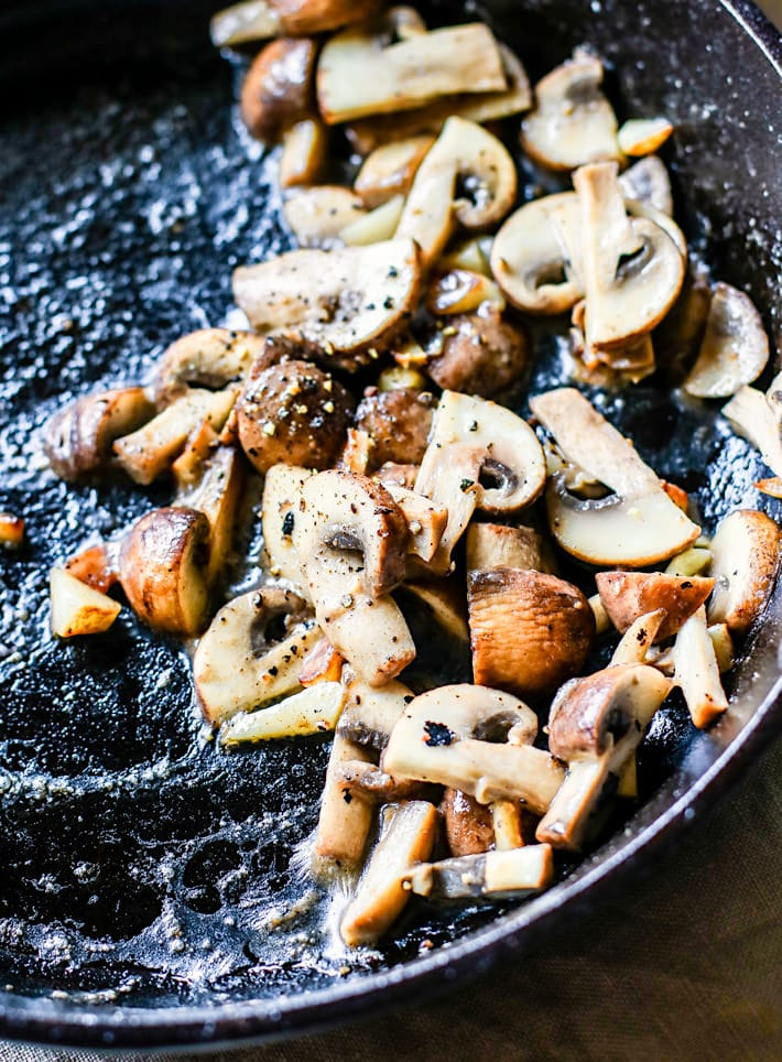 creamy garlic sauteed mushroom toast with basil {gluten free}