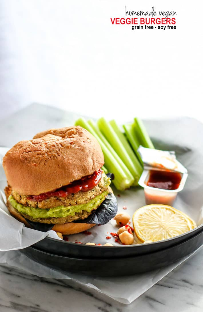 Freezer Friendly Soy Free Vegan Veggie Burgers. Grain Free and Gluten free Homemade Vegan Veggie burger Patties packed with herbs, seeds, chickpeas, and spices! These homemade vegan veggie burgers are super easy to make, healthy, and great for meal prep!