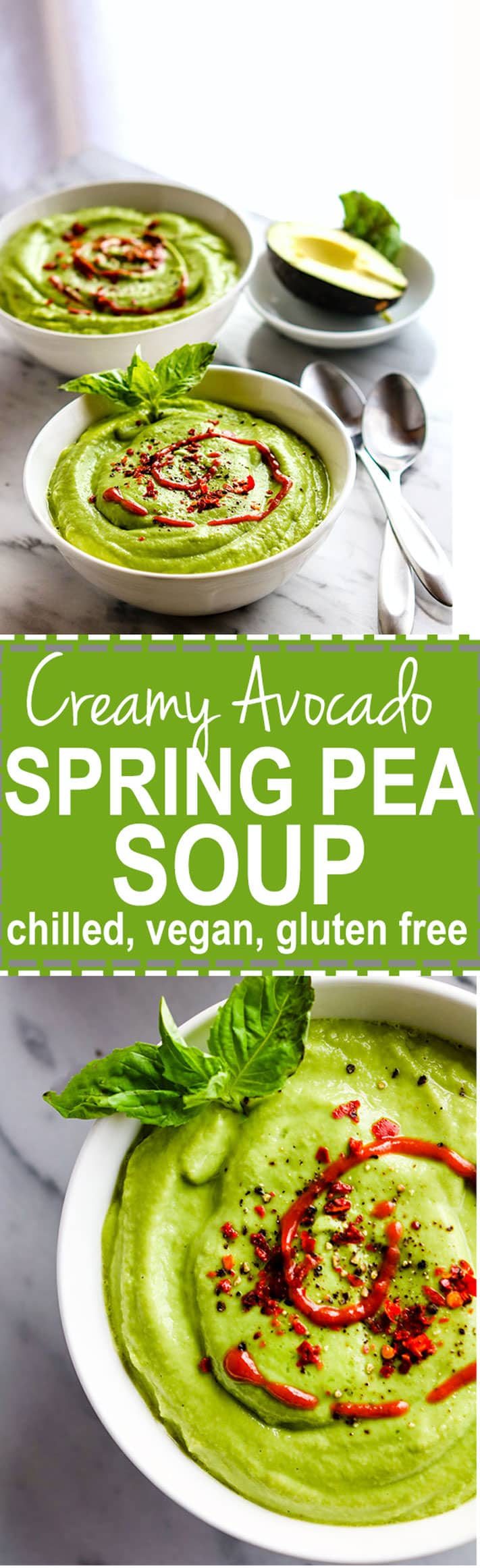 Vegan Chilled Artichoke Avocado Spring Pea Soup. Super Creamy Raw Spring Pea Soup loaded with extra veggies, tons of flavor, and packed full of nourishment