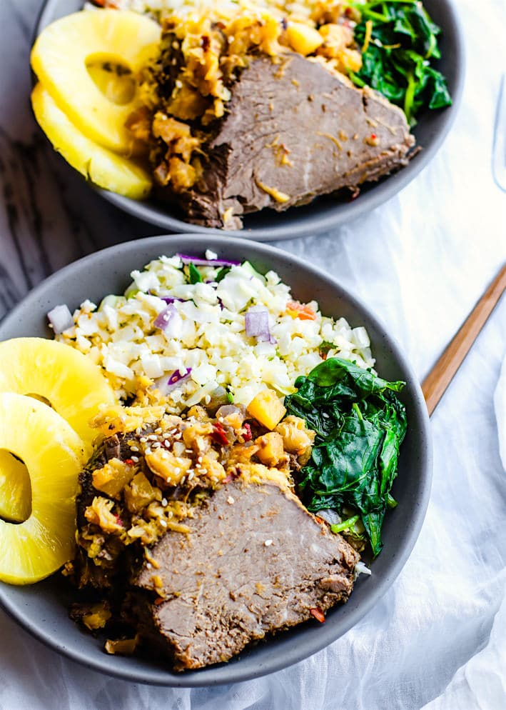 Easy Crock Pot Sweet and Sour Hawaiian Beef! A super easy paleo crock pot hawaiian Beef recipe that will satisfy the whole family! It' s healthy, simple, packed full of flavor! This crock pot beef is also freezer friendly so you can make a bunch and save some for later. ALOHA!