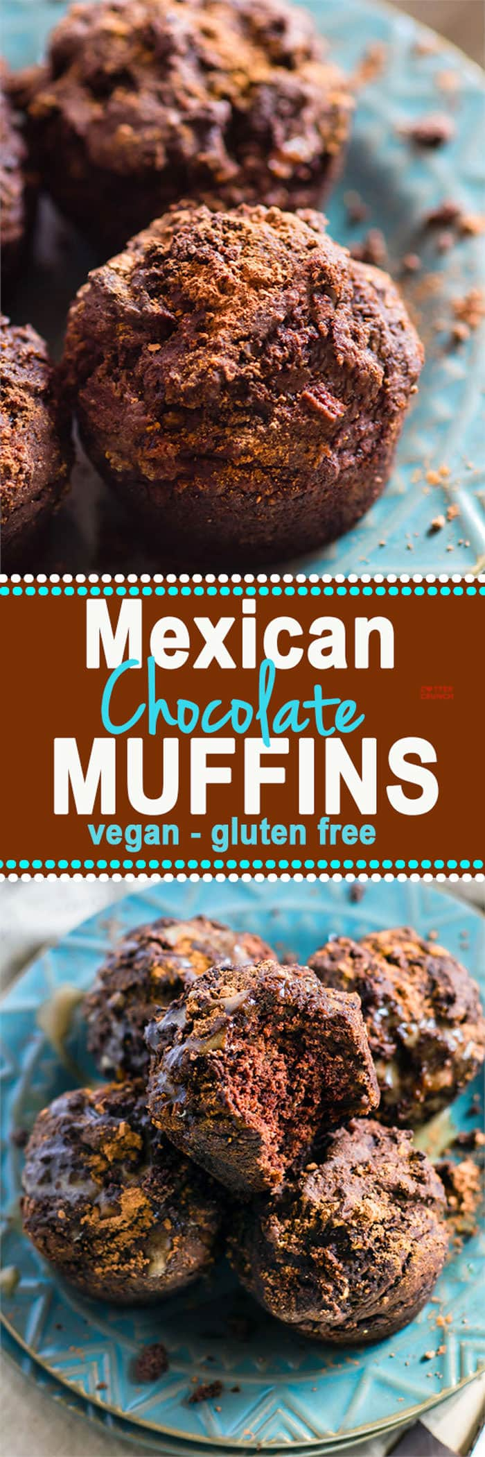 SO delicious Healthy Mexican Chocolate Gluten Free Muffins! Superfood Mexican Chocolate made even healthier and packed in tasty vegan gluten free muffins! Rich flavors but lightly sweet and packed with nourishment. Great for breakfast, brunch, or anytime!