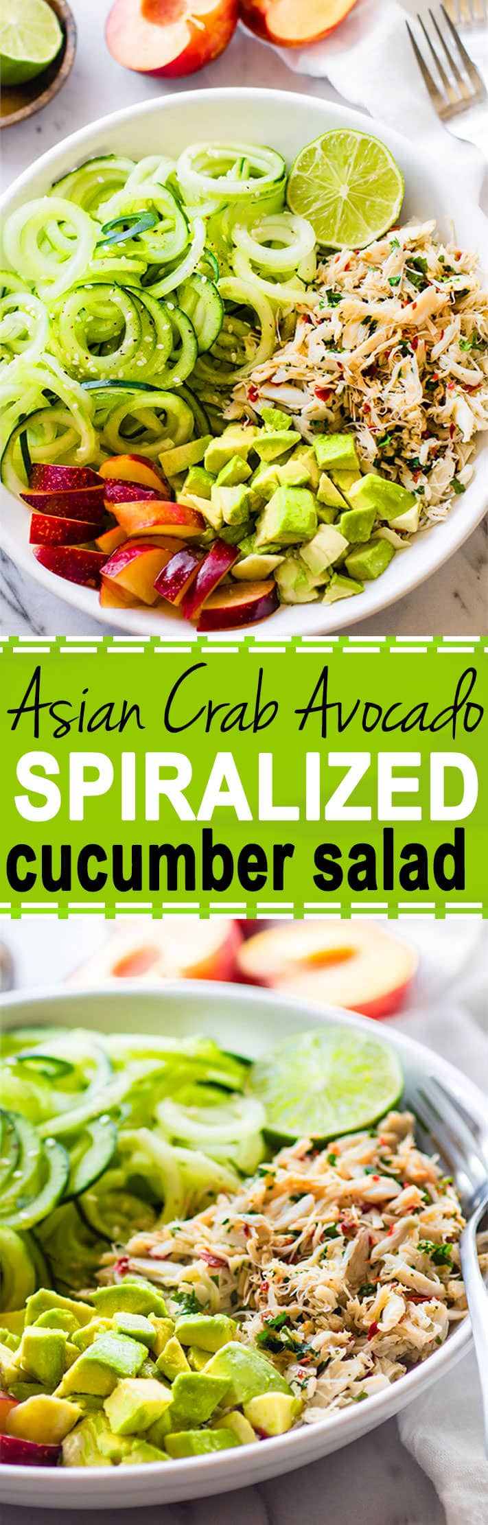 Healthy Asian Crab and Avocado Spiralized Cucumber Salad. Seafood lovers rejoice! You'll love this Power Lunch Paleo Asian Crab and Avocado Cucumber Salad! Light, Gluten Free, protein packed, and nutrient dense!! @cottercrunch