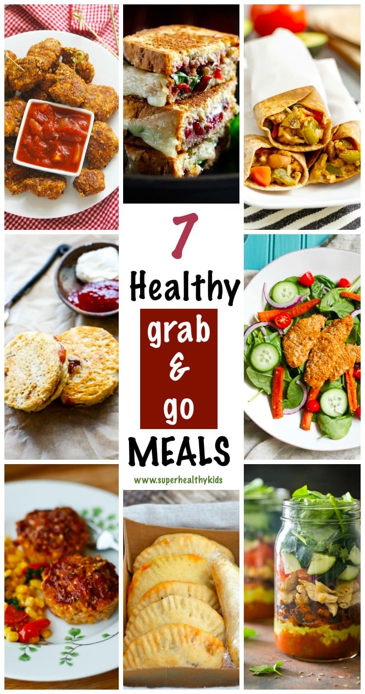 7 Healthy Grab and Go meals for Busy weeknights. Easy to make, tasty, portable, and of course HEALTHY! www.superhealthykids.com