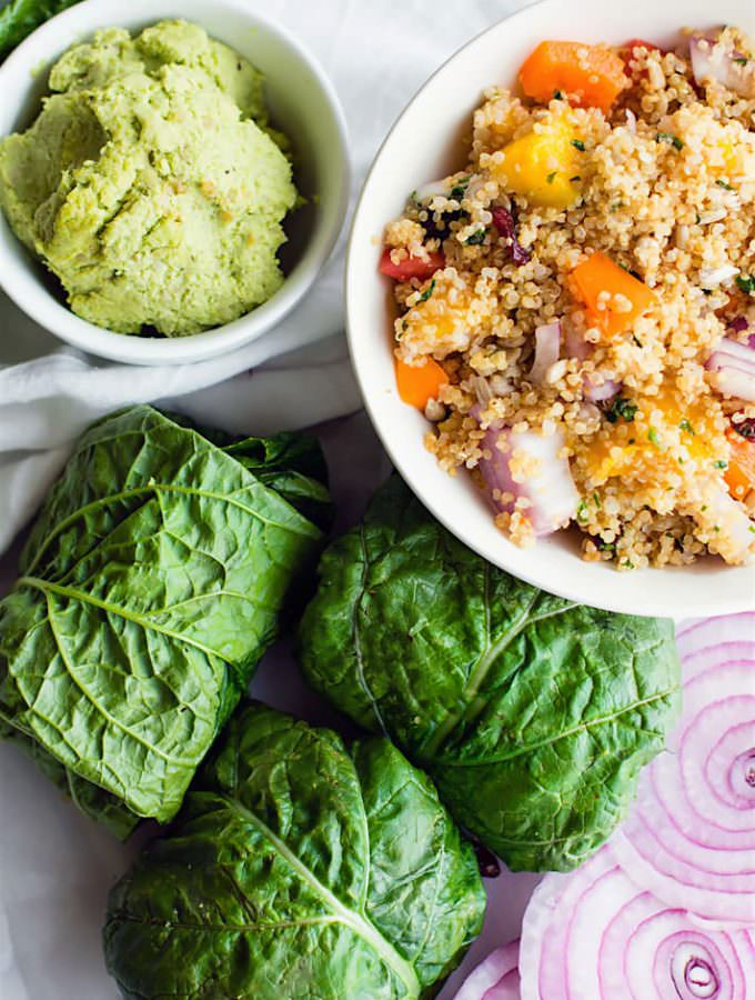 Super simple California quinoa Salad Collard Wraps with Edamame Pesto. GLuten free and Vegan. So delicious, healthy, and a great power lunch or picnic lunch!