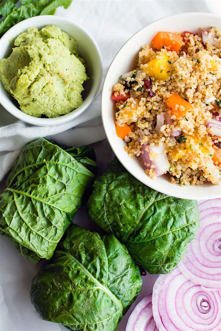 Healthy Dairy Free, Gluten Free Meal Plan Recipes. Super simple California quinoa Salad Collard Wraps with Edamame Pesto. GLuten free and Vegan. So delicious, healthy, and a great power lunch or picnic lunch!