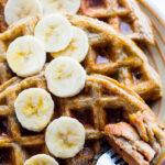 EASY Blender Banana Rice Gluten Free Waffles {Freezer Friendly, Vegan Option}