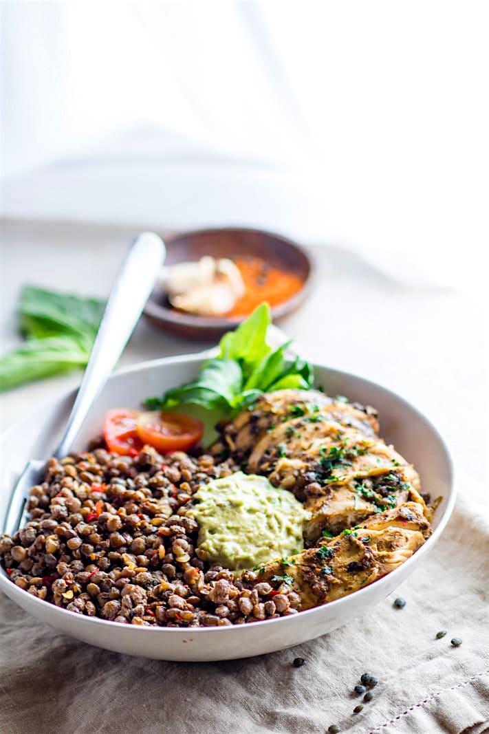 Garlicky Green Crock-Pot Chicken and Lentils {Gluten Free}