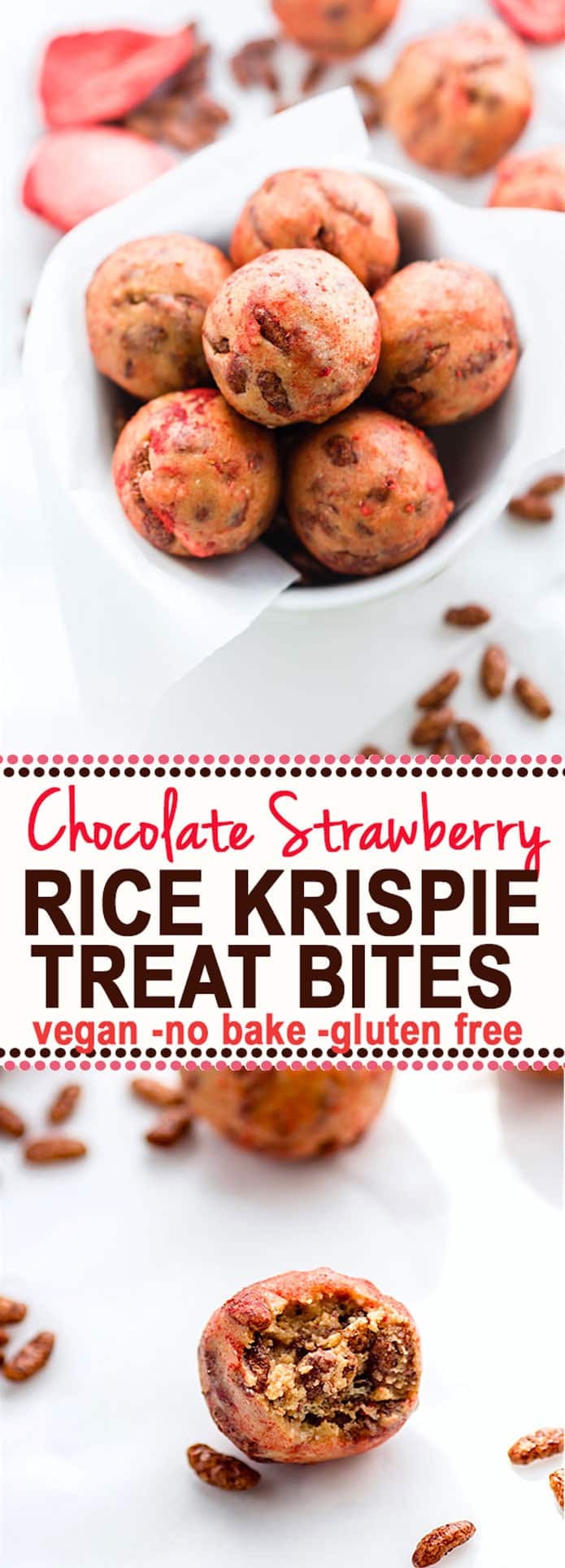 Super Tasty Chocolate Strawberry NO BAKE rice Krispie Treats BITES! Vegan Gluten Free Rice Krispie treats in BITE form and actually healthy for you. Easy to make and a great snack or breakfast bite for kids and adults! @cottercrunch