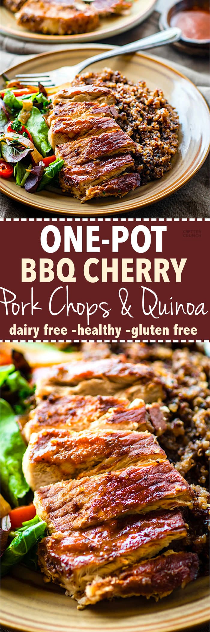 Easy Gluten free ONE-POT BBQ Cherry Pork Chops and Quinoa. A super simple gluten free one-pot meal that feeds the family. Finally, a healthy one-pot BBQ recipe that also makes a great recovery meal. It's balanced in carbs, protein, and healthy fats. Plus loaded with anti-inflammatory properties!