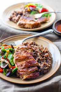Gluten Free One-Pot BBQ Cherry Pork Chops with Quinoa {Healthy Recovery Meal}