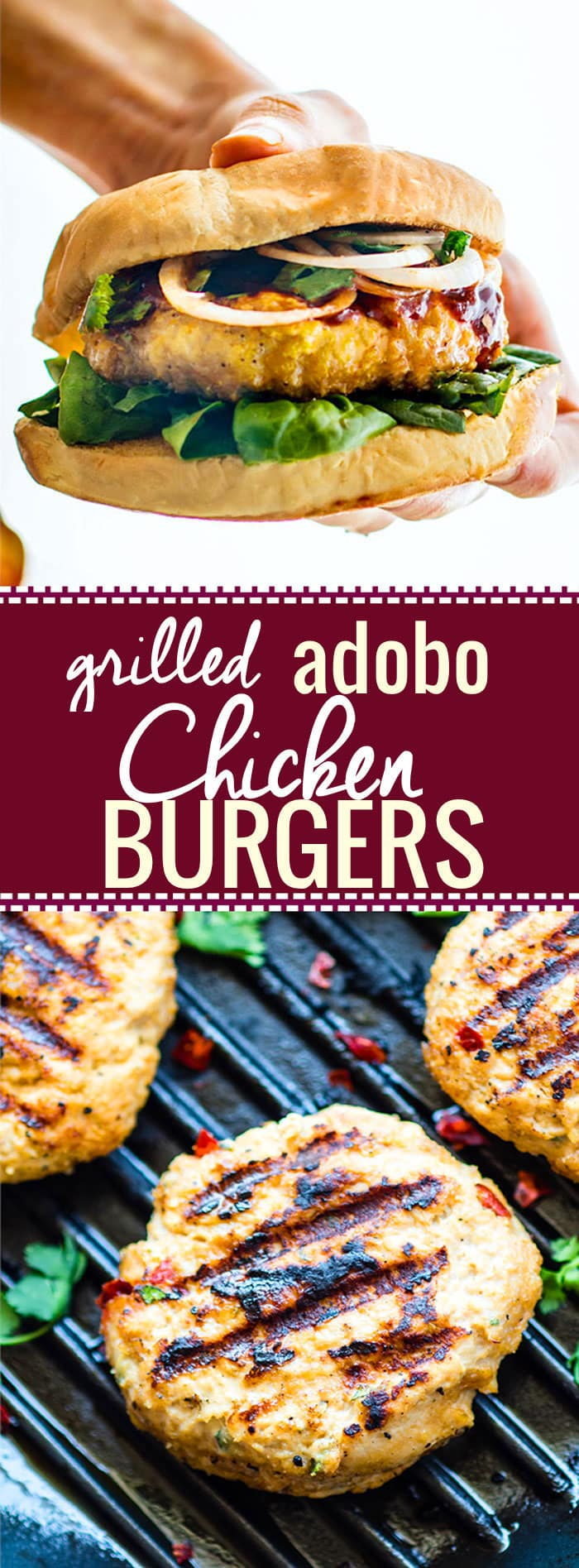 Grilled Adobo Chicken Burgers. Mexican and Filipino style adobo chicken flavors combined then grilled to perfection. Healthy, Gluten free Chicken Burgers! @cottercrunch