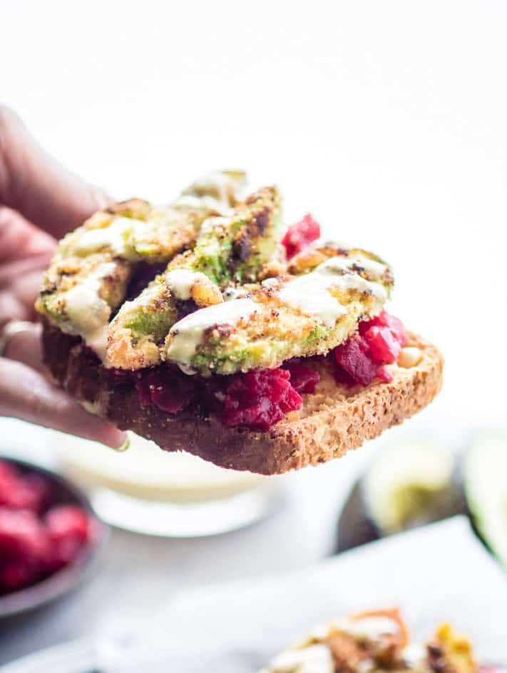 AVOCADO TOAST with a healthy crave worthy upgrade! Smashed beets and gluten free crumbed fried avocado toast with onion aioli. Crispy and buttery Breakfast made in less that 20 minutes.