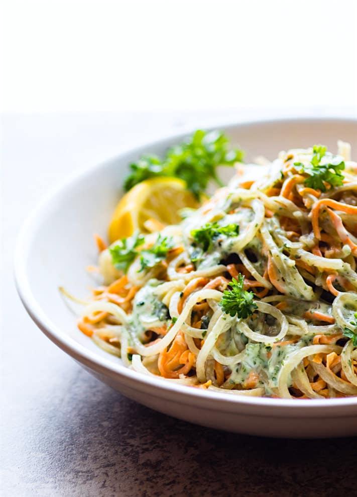 vegan green goddess spiralized potato pasta salad {Paleo}