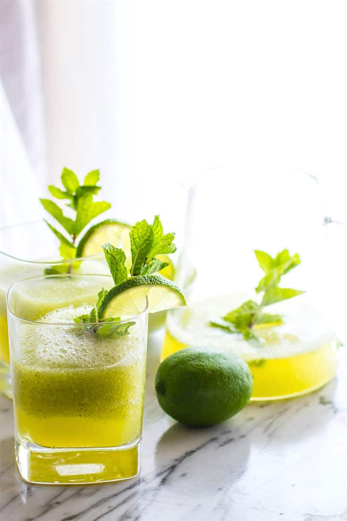 Oh so REFRESHING Sparkling Mint Melon Limeade! A Healthy bubbly limeade recipe that will keep you cool and collected all summer! It take 10 minutes to me, is made with natural nourishing ingredients, and great to sip on anytime of day. A must make for parties, events, and more! Paleo, Vegan, and just plain TASTY!