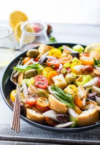 Gluten Free Toasted Panzanella Salad Bowls