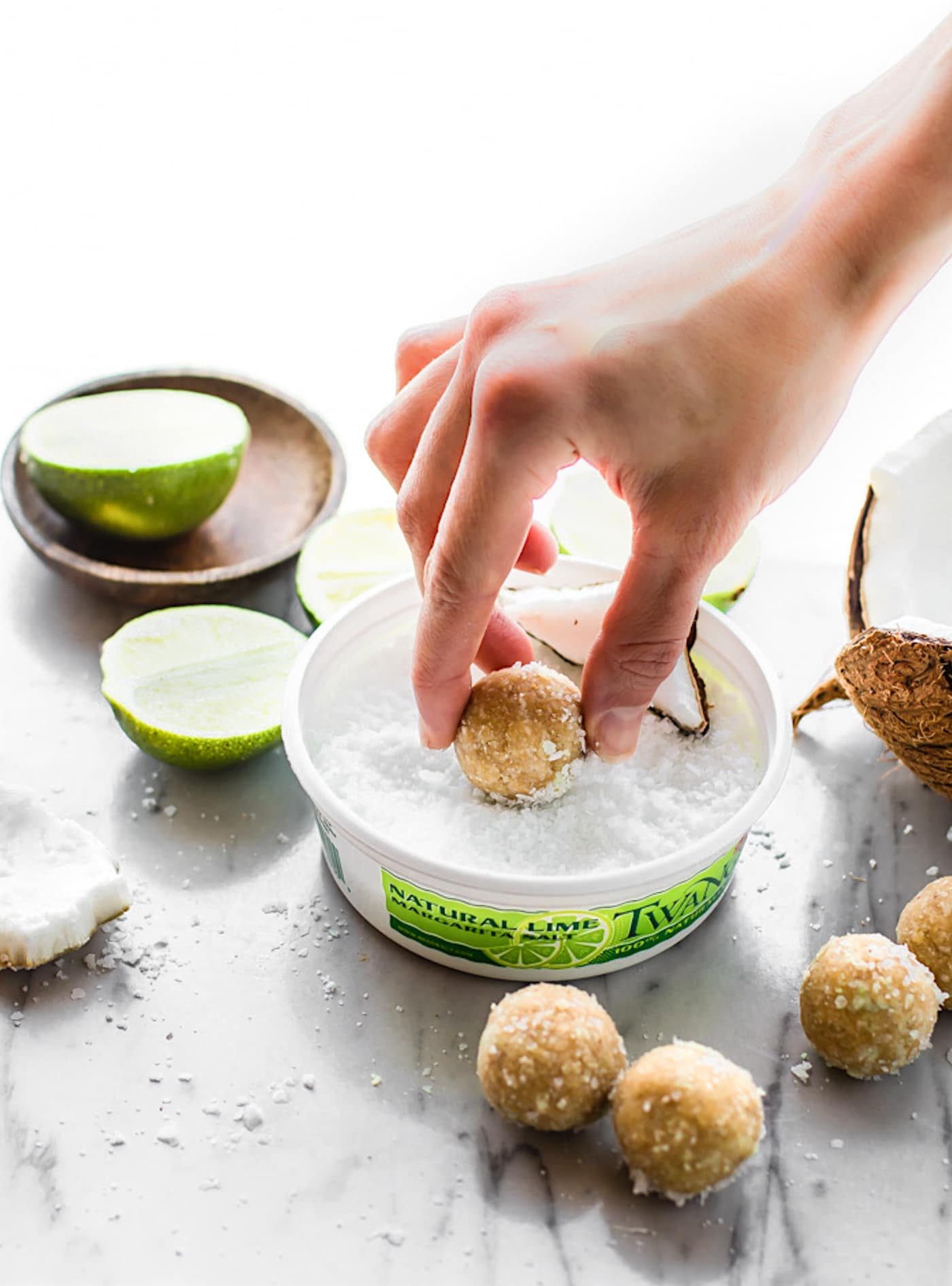 No Bake Coconut Margarita Bites! Super simple no bake coconut margarita treats in dessert bite form! These bites are naturally gluten free, paleo friendly, and vegan! Bites that actually taste like a frozen margarita with natural lime and coconut flavors. #vegan #paleo #nobake