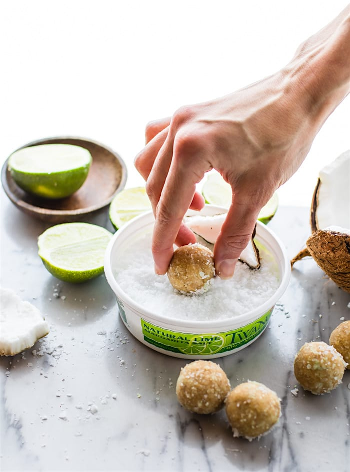 No Bake Coconut Margarita Bites! Super simple no bake coconut margarita treats in dessert bite form! These bites are naturally gluten free, paleo friendly, and vegan! Bites that actually taste like a frozen margarita with natural lime and coconut flavors. So refreshing for summer or anytime of year!