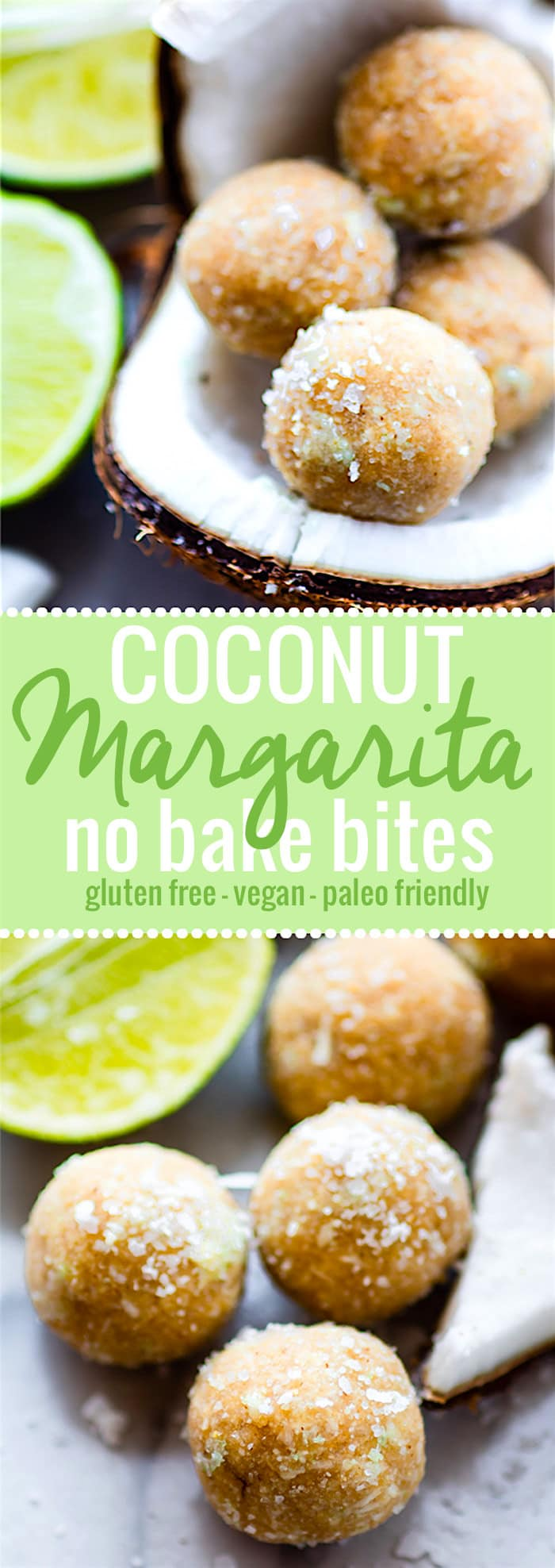 No Bake Coconut Margarita Bites! Super simple no bake coconut margarita treats in dessert bite form! These bites are naturally gluten free, paleo friendly, and vegan! Bites that actually taste like a frozen margarita with natural lime and coconut flavors. So refreshing for summer or anytime of year! @cottercrunch
