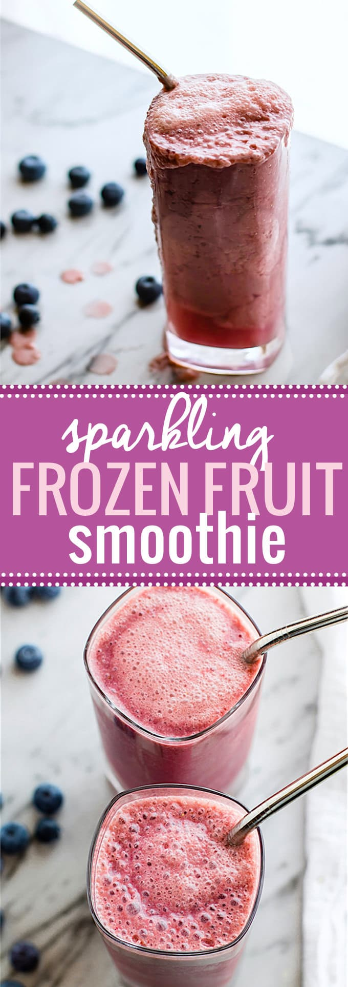 5 ingredient Sparkling Frozen Fruit Smoothie! This frozen fruit smoothie is the perfect Healthy summer refresher. No ice needed. Paleo and Vegan friendly @cottercrunch