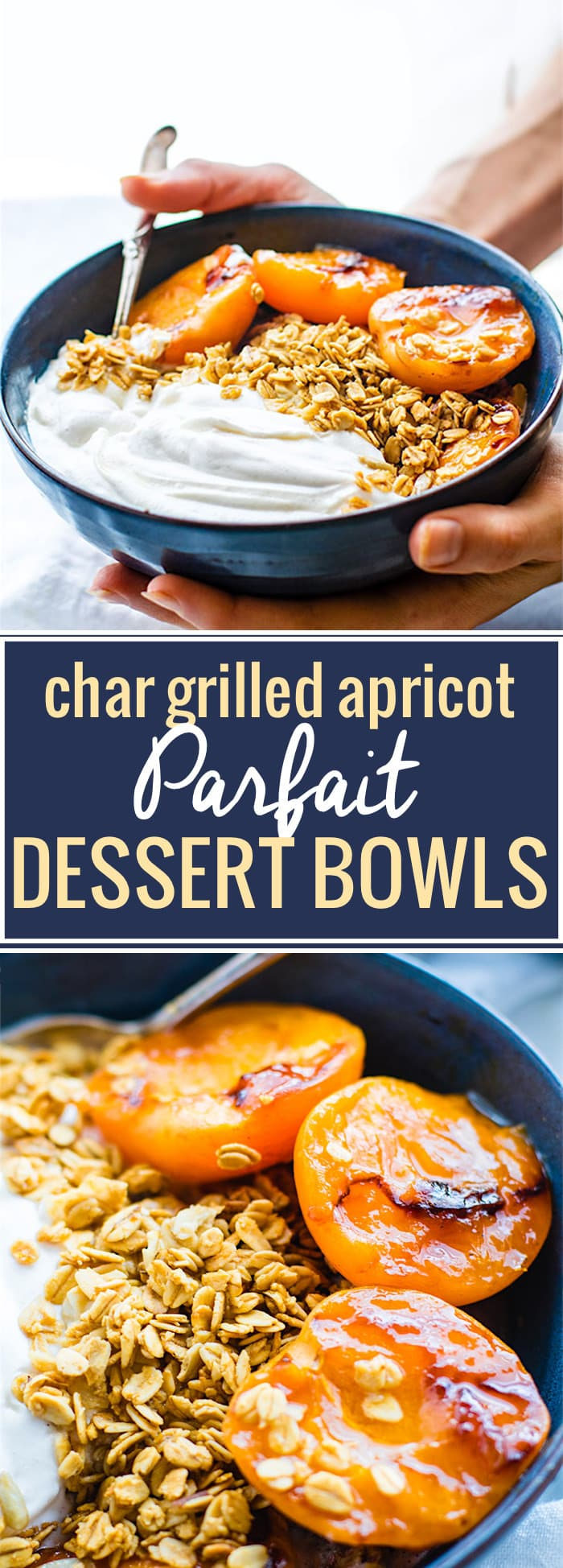 Gluten Free Char-grilled apricot parfait dessert bowls! These dessert bowls are great for dessert or breakfast. A light and simple dessert that's layered across with glazed grilled apricots, whipped coconut cream, and wholesome granola. Vegan Friendly. @cottercrunch
