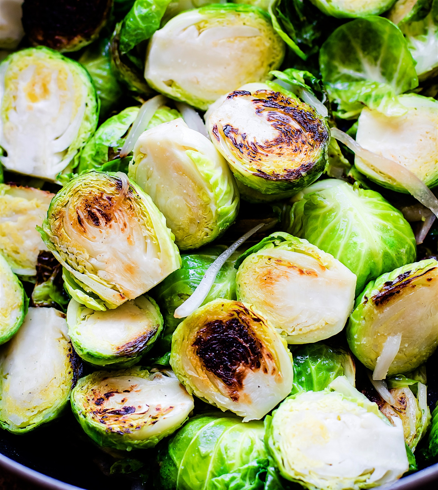 Pan Fried Creamy Mustard Brussels Sprouts Salad! A Brussel Sprouts superfood salad tossed in a vegan creamy mustard sauce. An easy to make paleo side dish!