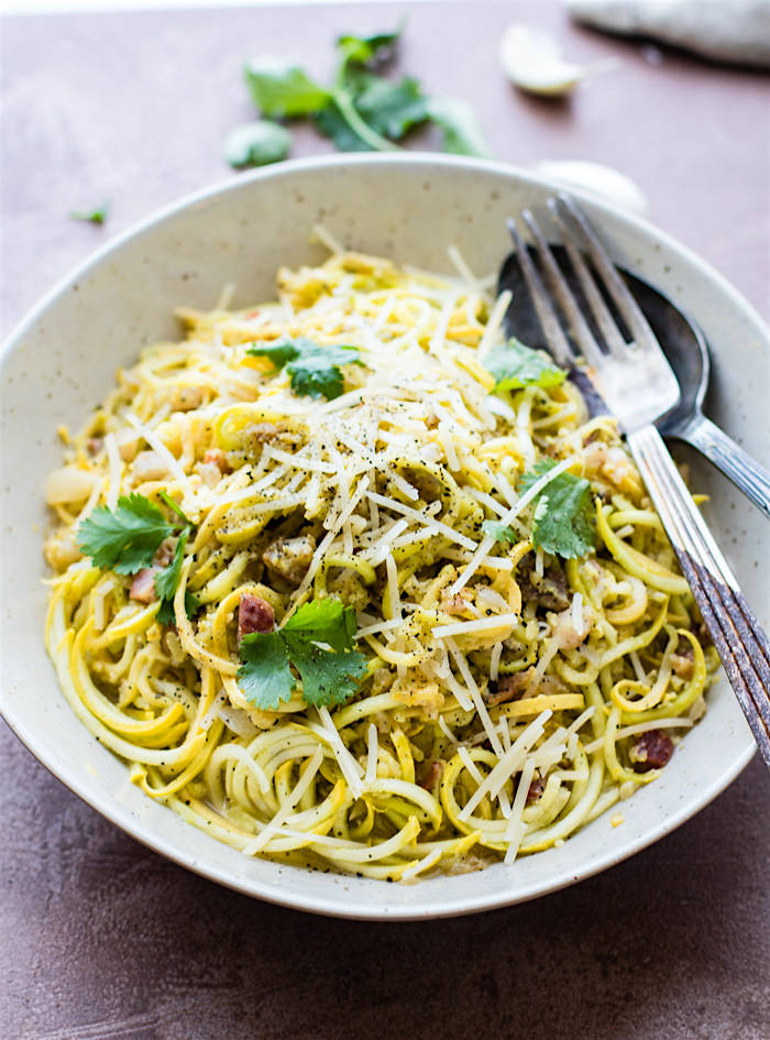 Low carb spiralized squash Pasta carbonara with Pancetta