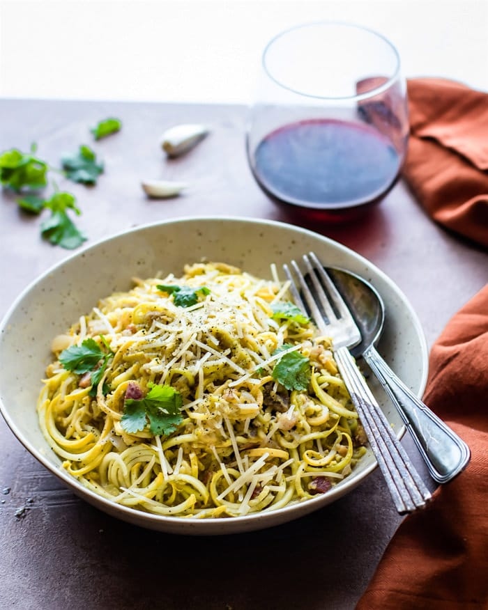 Quick Spiralized Squash Carbonara with Pancetta! Tasty spiralized squash noodles in creamy pasta carbonara sauce. Low carb pasta naturally gluten free.