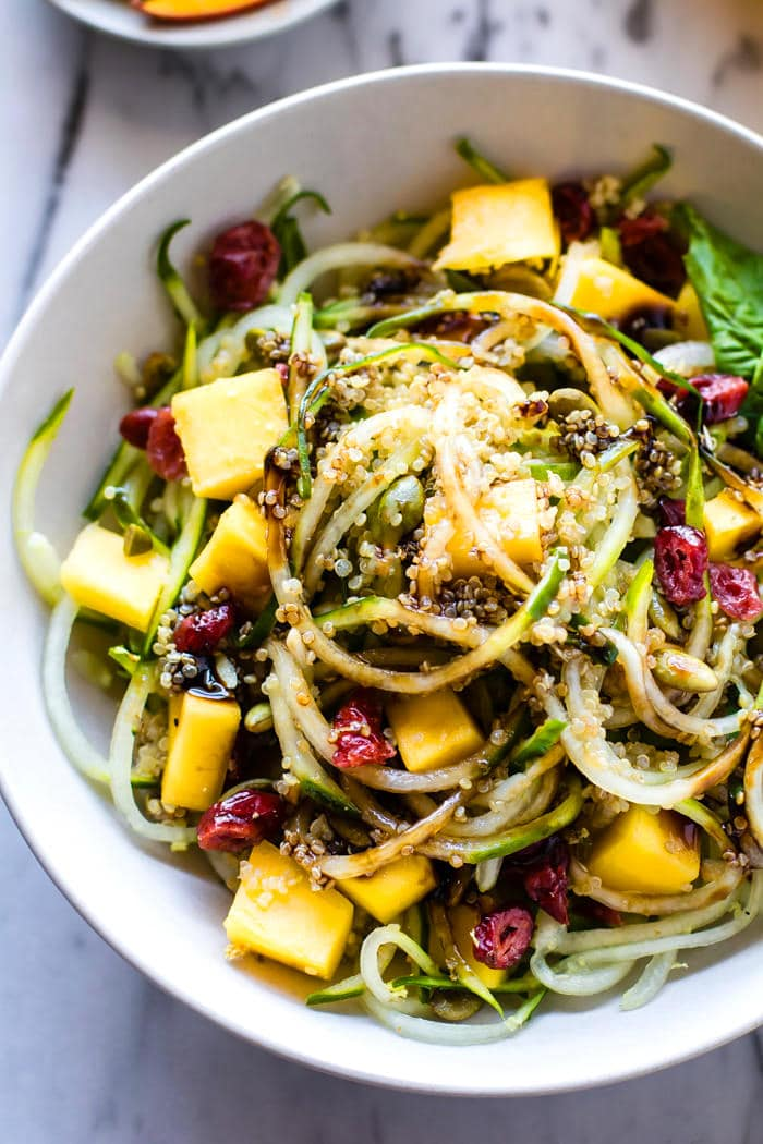 Spiralized Salad with Cucumber, Mango, and Quinoa