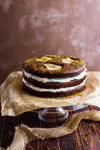 Flourless Chocolate Pistachio Pear Naked Layer Cake