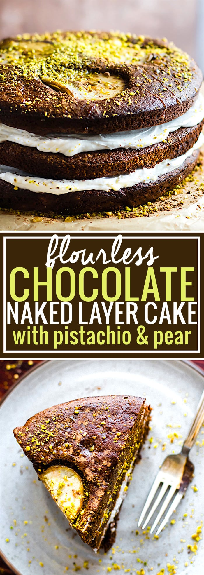 Flourless Chocolate Pistachio Pear Naked Layer Cake. A paleo flourless chocolate layered cake that is light in texture, rich in taste, and delicious! Filled with maple coconut cream then topped with cocoa, glazed pears, and pistachio! This naked cake is simple to make. A decadent dessert that feeds a crowd! Celebrate with cake @Cottercrunch