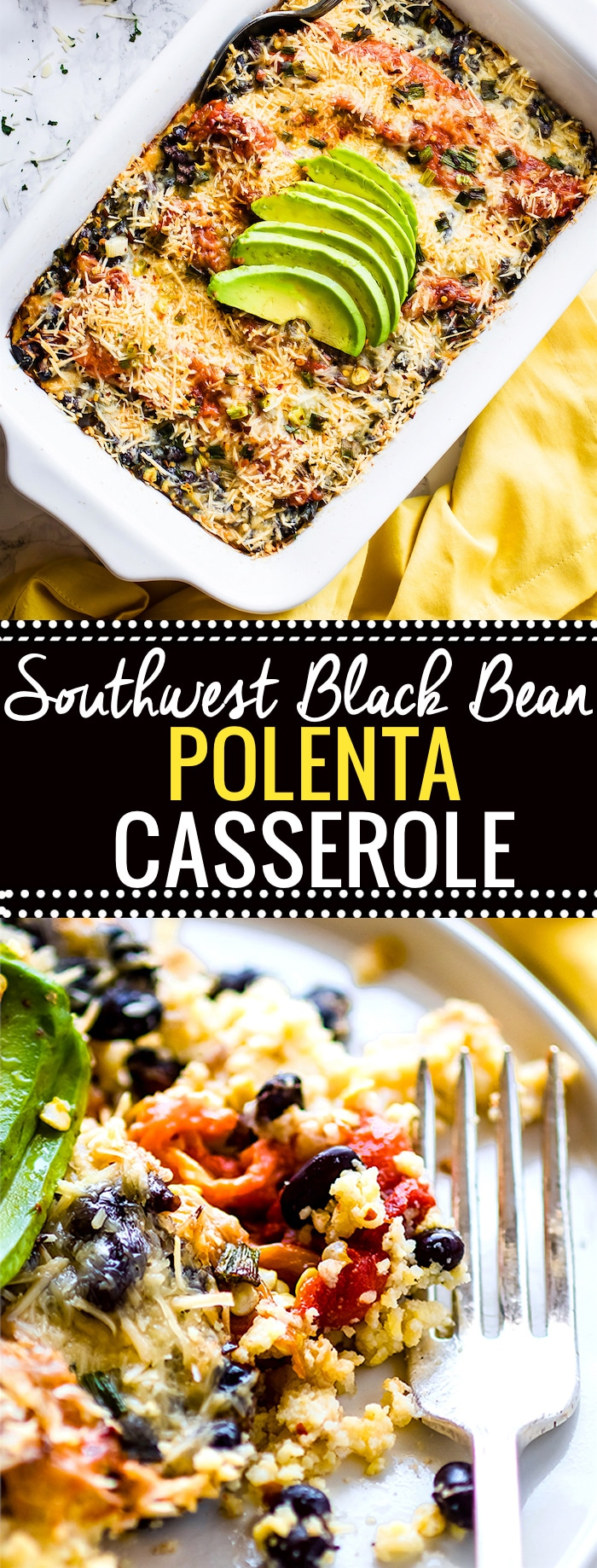 Southwest Black Beans Polenta Casserole! A wholesome gluten free vegetarian casserole made with Southwest black beans, polenta, roasted peppers, and more. Super easy to make ahead, healthy, and feeds a crowd! @cottercrunch