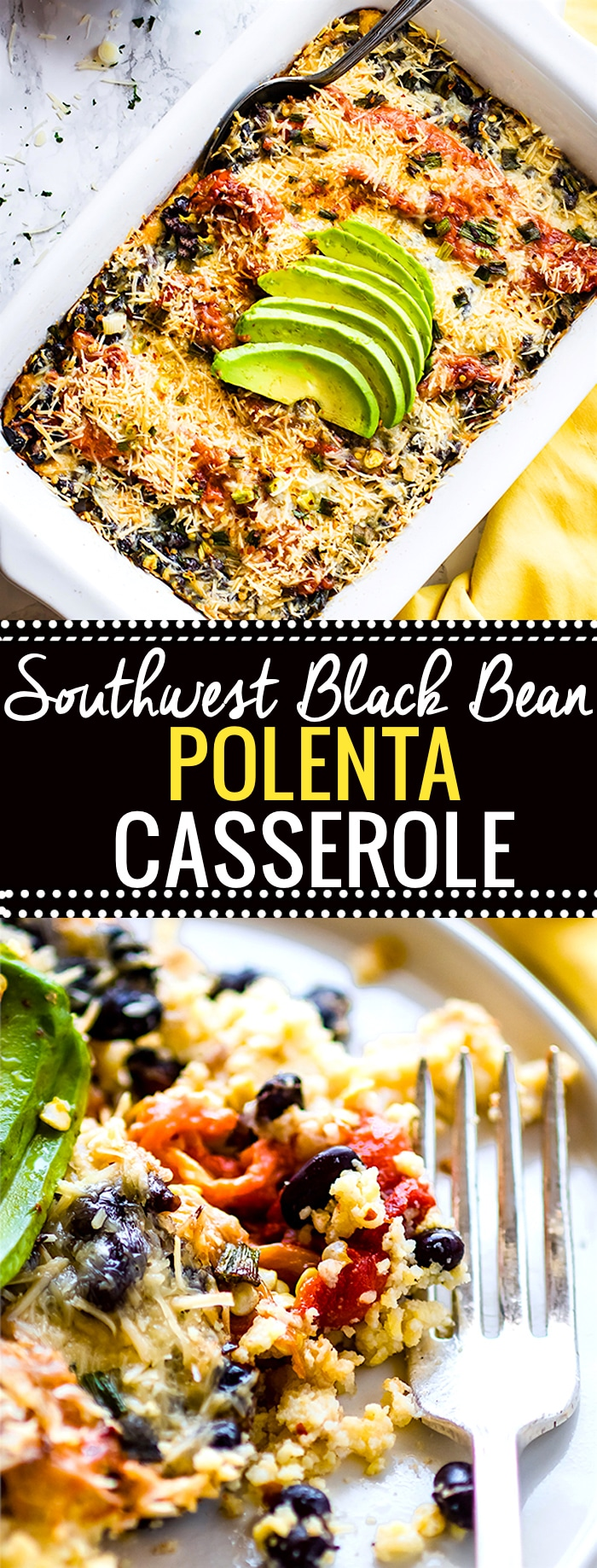Southwest Black Beans Polenta Casserole! A gluten free vegetarian casserole baked with Southwest black beans, polenta, peppers, and more. Easy and healthy! Feeds a crowd, easy to make ahead! @cottercrunch