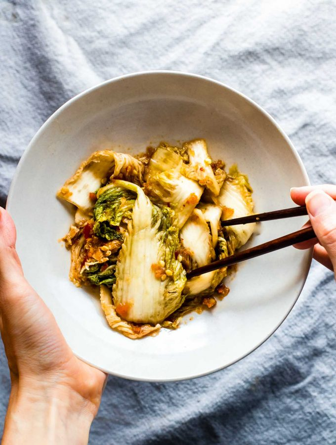 An easy kimchi recipe with Asian Southwest Fusion flavors! This easy kimchi recipe is simple to make, paleo, and a healthy side or topping to any dish.