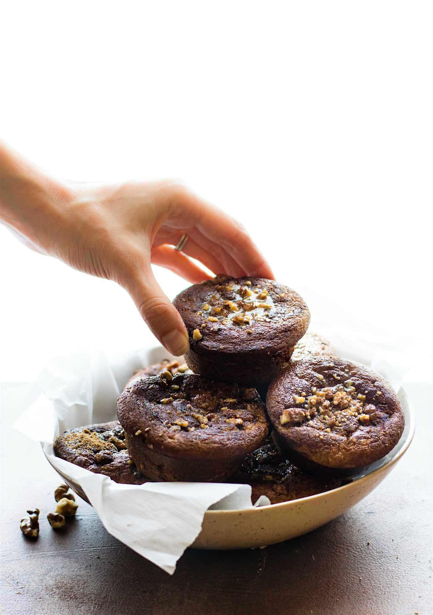 Paleo Sticky Coffee Cake Muffins {Blender Recipe}. a healthygluten freemini version of your favorite coffee cake! These Paleo Coffee Cake Muffins are made easy in the blender, baked in under 30 minutes, then topped with sticky maple nut topping.