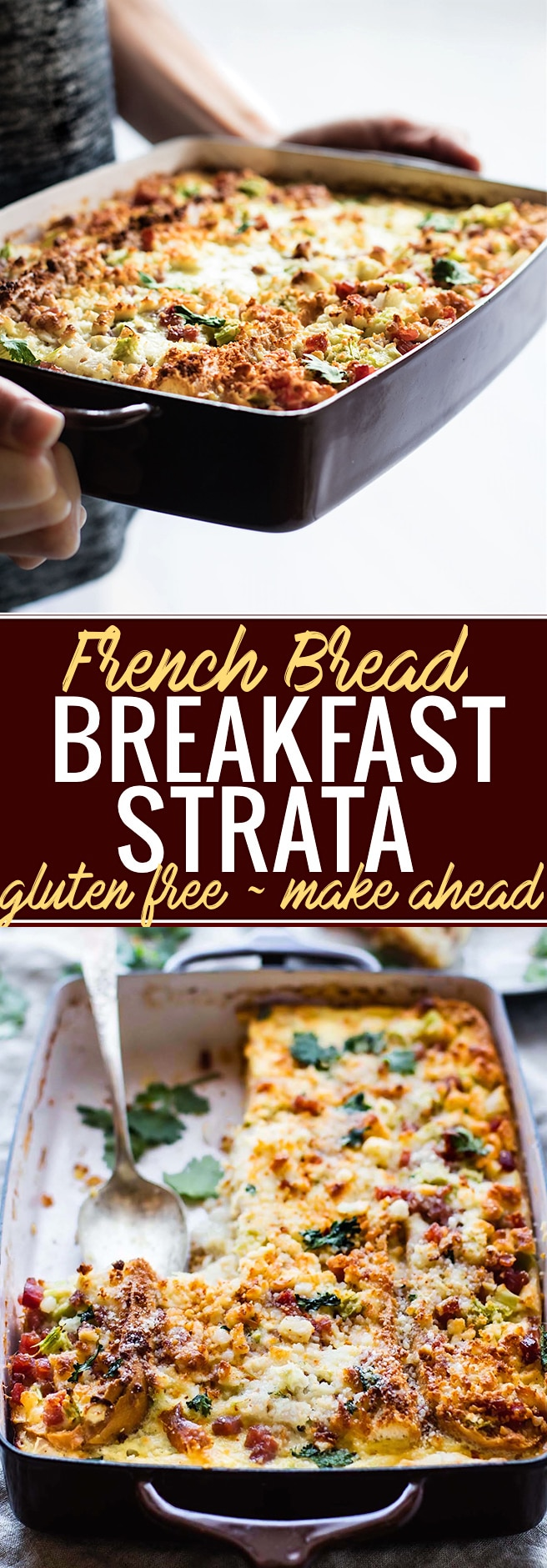 A Gluten Free French Bread Ham Breakfast Strata recipe that's easy-to-follow and will please everyone! Yes, it does exist! A Breakfast Casserole you can make ahead or bake in 30 minutes. Layers of breakfast staples like eggs, French bread, ham, veggies, and more. Great for a gluten free Brunch or Holiday table! @cottercrunch