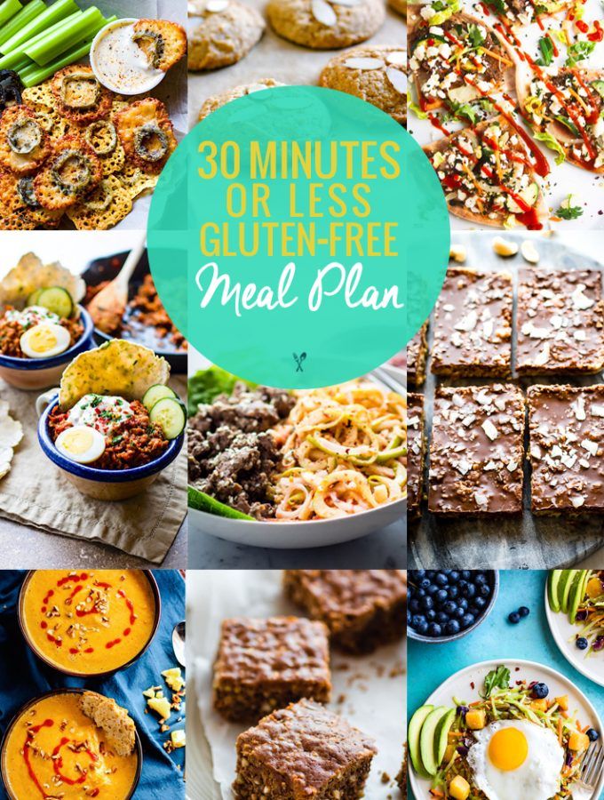 A gluten free meal plan that's quick and healthy! 30 minutes is all you need for this simple gluten free meal plan! Great for meal prep, holiday planning, and more! Easy and delicious meals, snacks, and desserts.