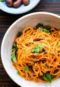 Snappy Italian Sweet Potato Spaghetti Bowls {Paleo, Vegan}