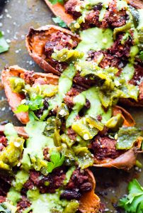 Ancho Beef Chili Stuffed Sweet Potato Skins {Paleo}