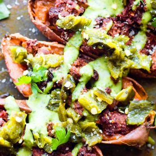 Ancho Beef Chili Stuffed Sweet Potato Skins are a paleo meal or appetizer that is so easy to make and full of flavor! Dairy Free, Gluten Free, and Whole30!