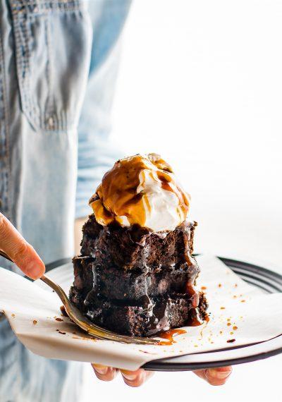 One Bowl Vegan Dark Chocolate Salted Caramel Brownies {Paleo}