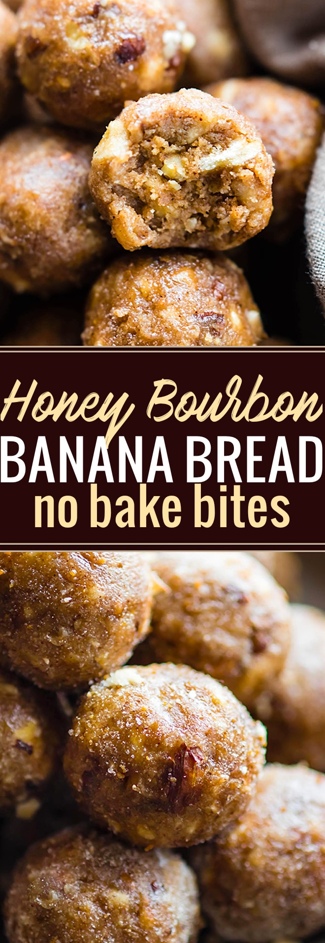 "These Honey Bourbon Banana Bread bites make a delicious quick no bake dessert! A gluten free Bourbon Banana bread bites recipe with a little ""spike"" and seasonal spices. Whip them up for a holiday dessert or tasty snack ready in no time. Dairy free and non alcoholic Vegan option. @cottercrunch"