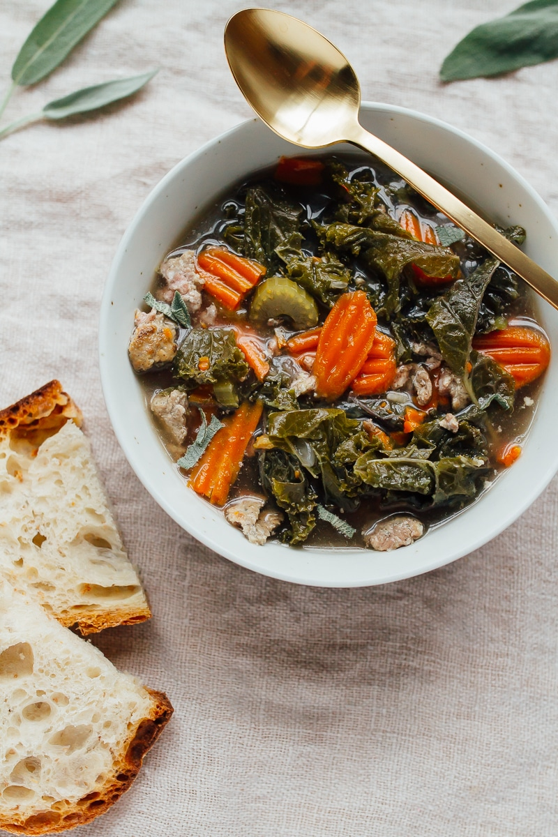 Slow Cooker Sausage Kale Soup Description: Come home to a warm and comforting meal with this slow cooker sausage kale soup! It's packed with flavor and a breeze to whip up.
