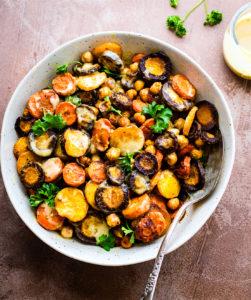 Turmeric Roasted Chickpea Carrot Salad with Apple Cider Tahini Dressing {Vegan}