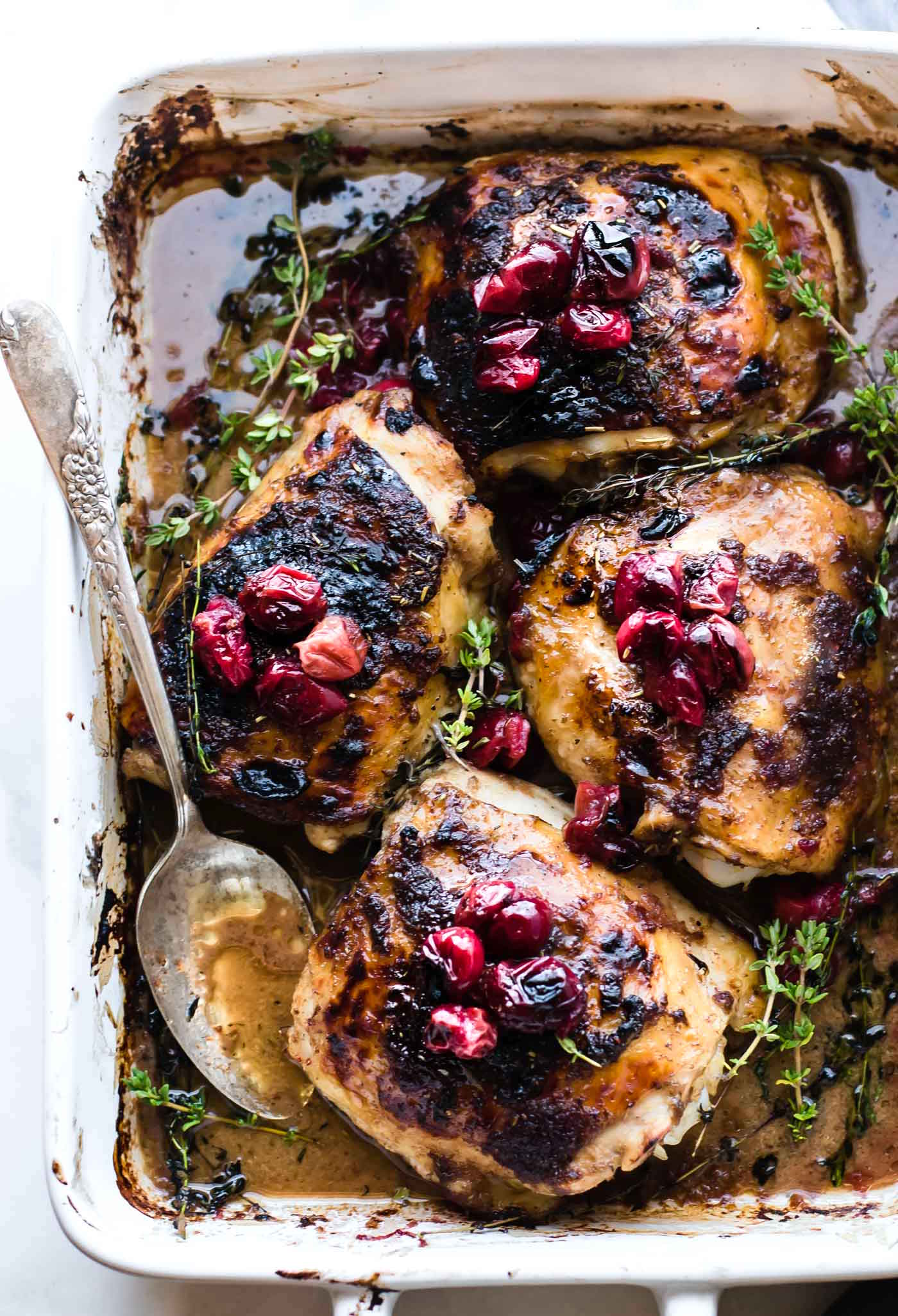 One Pan Cranberry Balsamic Roasted Chicken {Paleo}