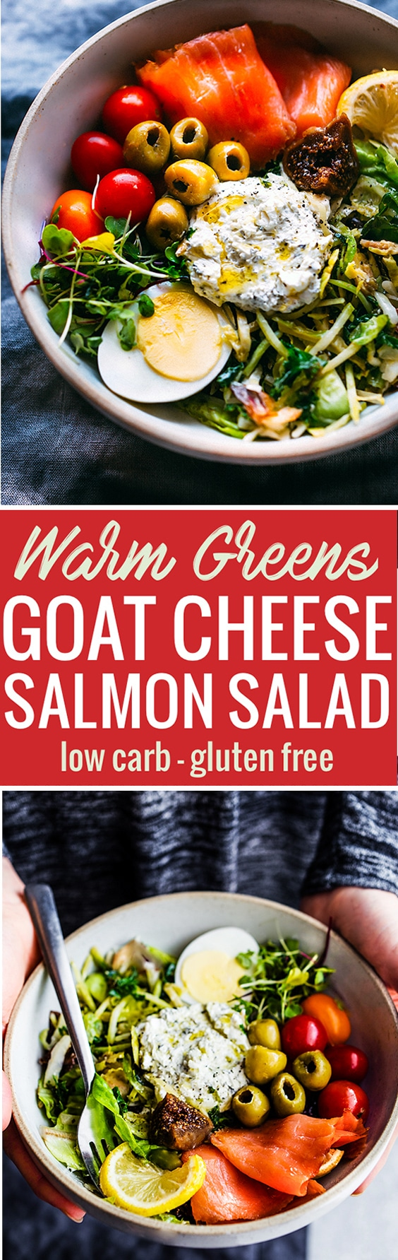 This Warm Greens Salad with Smoked Salmon and Goat cheese will satisfy your tastebuds and nourish your Body! A low carb warm greens salad packed full of healthy fats and protein. Whipped Goat cheese to top! Simple, gluten free, healthy, and so delicious! www.cottercrunch.com @cottercrunch