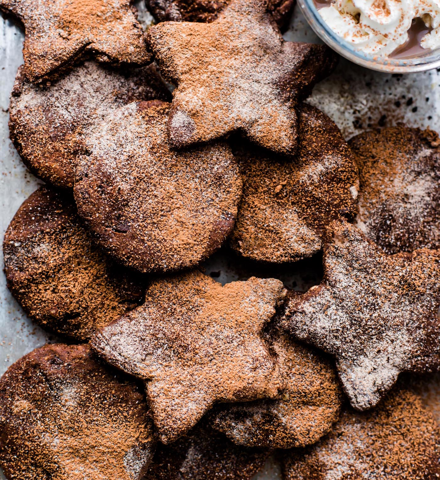 Mexican Hot Chocolate Sugar cookies taste and easy to make! Dark Chocolate, cinnamon, and Chili spices, soft, no butter needed. Paleo and vegan friendly.