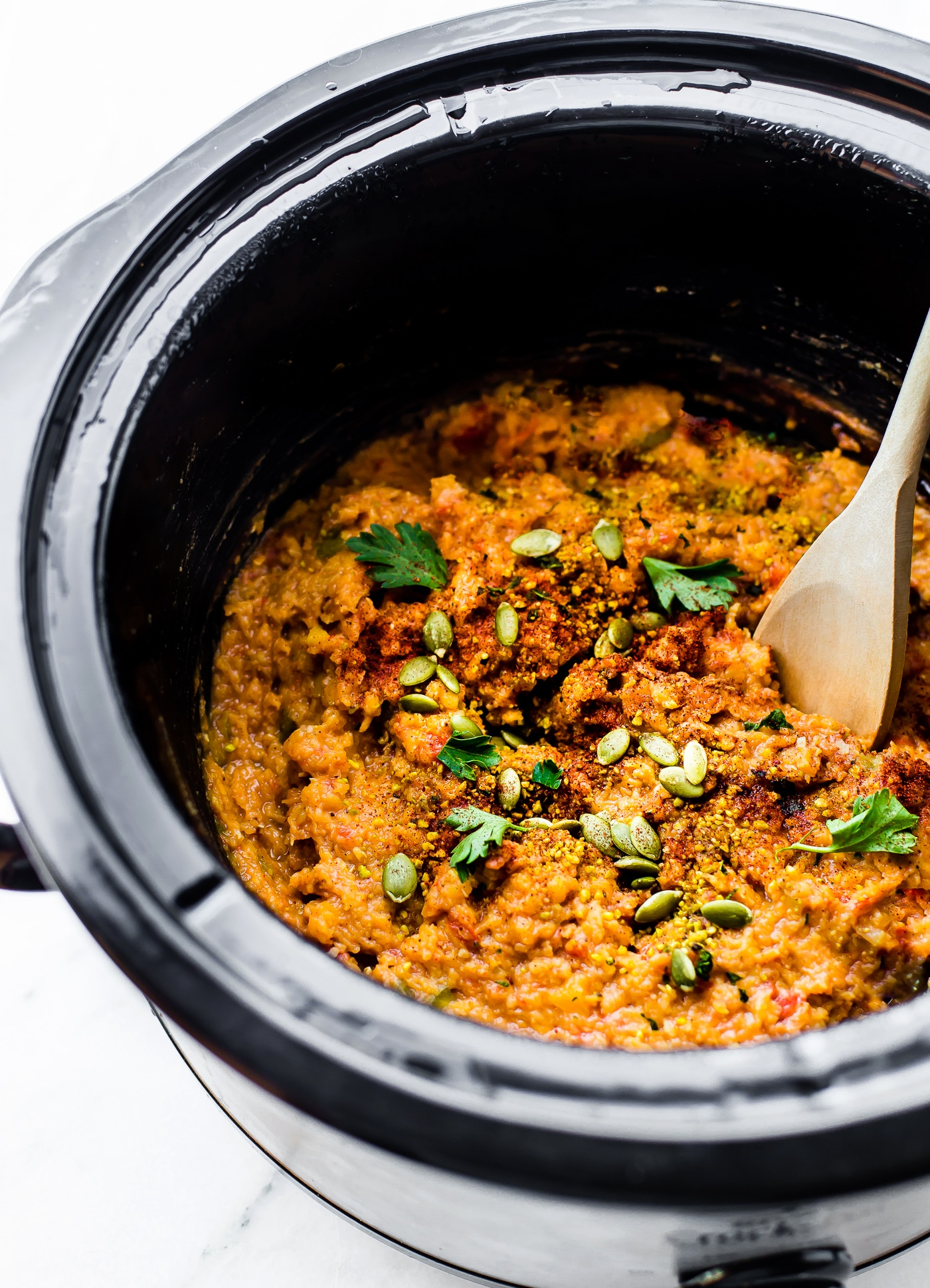 Vegan Crock Pot chili! A hearty yet healthy BBQ Vegan lentil chili made with a few simple ingredients. Just like a taste of Texas! BBQ spices, sauce, onions, vegetables, and lentils. Throw in the crockpot and go. A fiber and protein rich meal that will feed plenty. Gluten-free and Grain Free.