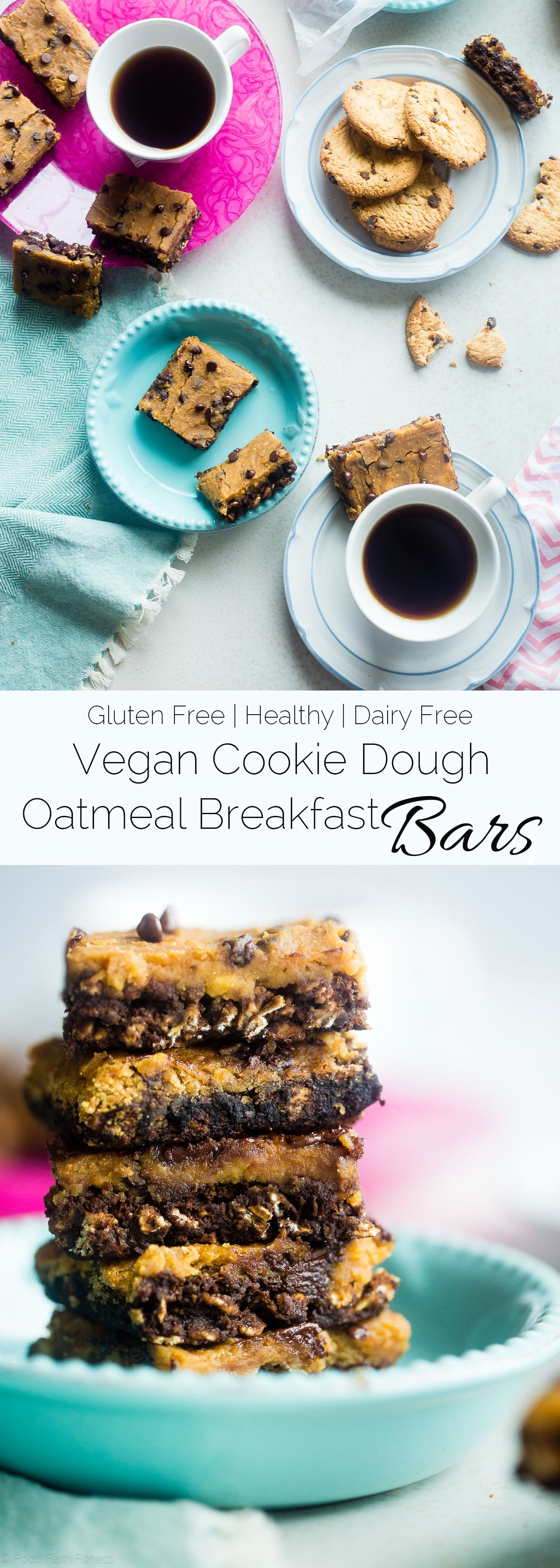 These Vegan Cookie Dough Oatmeal Breakfast Bars are perfect for an healthy grab and go breakfast. Plus they taste like cookie dough! Packed with real food plant based protein, chocolate chips, and gluten free oats. A healthy breakfast that tastes like dessert! YUM! www.cottercrunch.